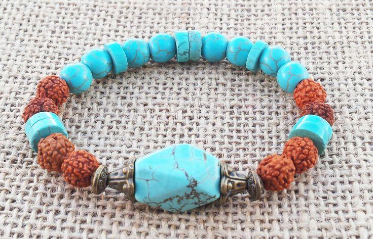 Boho Turquoise bracelet Tears Of Shiva Natural Seed Bracelet Bohemian Style Boho Chic Bracelet Boho Jewelry Gifts For Her Blue Bracelet