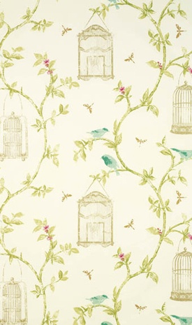 Birdcage Walk cotton, Osbourne & Little.  The curving vertical stripe would create illusion of height
