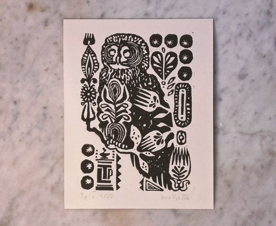 Linocut  Strix Nebulosa  Limited Edition by TigerlilyDesignStore