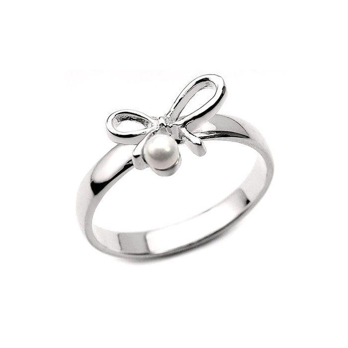 Zilveren Ring Strik met parel