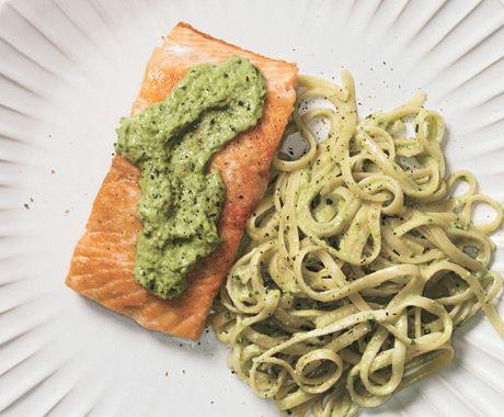 Seared Salmon with Linguine and Ramp Pesto