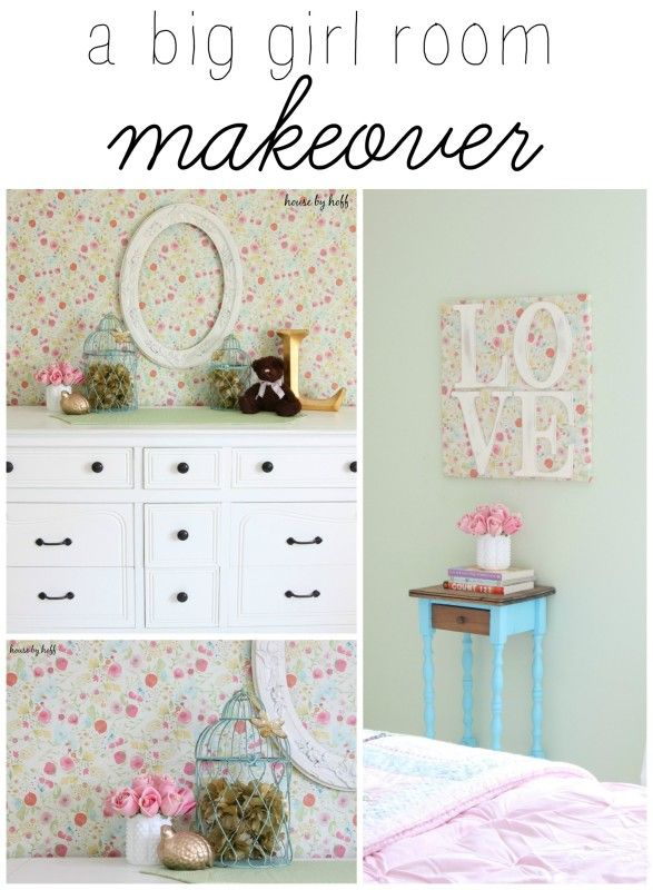Big Girl Room Makeover - she uses temporary wallpaper as an accent wall. So pretty!