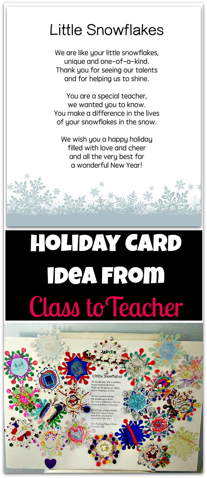 I did this holiday card project for my daughter's 2nd grade teacher last year when I was room mom and it turned out pretty darn cute so I wanted to share this holiday card idea from class to teacher with you.