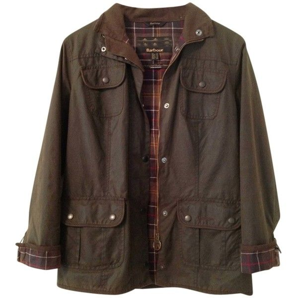 Barbour Pre-owned Barbour Ladies Utility Waxed Olive Jacket ($402) ❤ liked on Polyvore featuring outerwear, jackets, tops, coats & jackets, olive, brown jacket, barbour jacket, olive jacket, slim fit jacket and green camo jacket