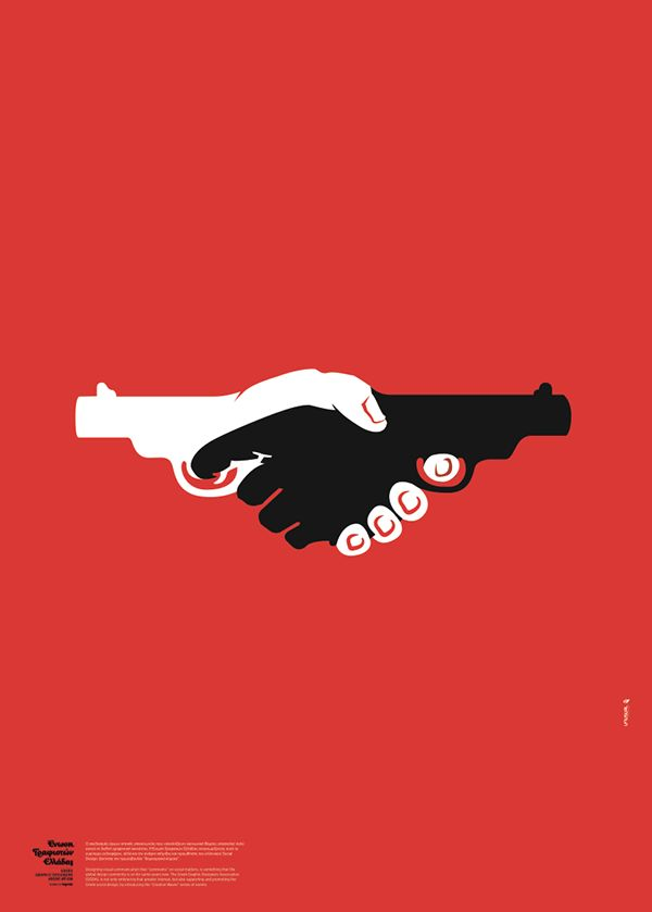 This poster design for the Anti-Racism Festival 2010 was commissioned by the Greek Graphic Designers Association (GGDA) and designed by Unusual. They amped up their social commentary by producing an image that depicts handshakes and handguns.