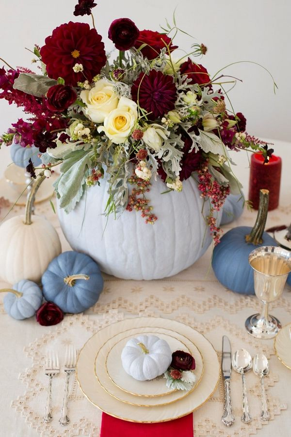 Painted Pumpkin Fall Thanksgiving Place Setting | Lisa Price Photography on @CVBrides via @aislesociety