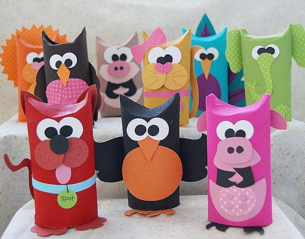 Wc-rolletjes - dieren - gekleurd papier