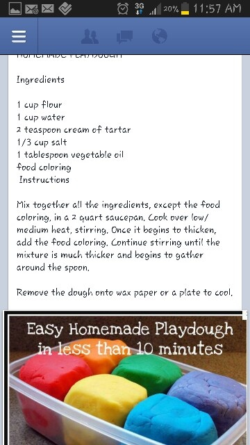 Playdough- just made this with the kids on this rainy night....super easy and fun!!!