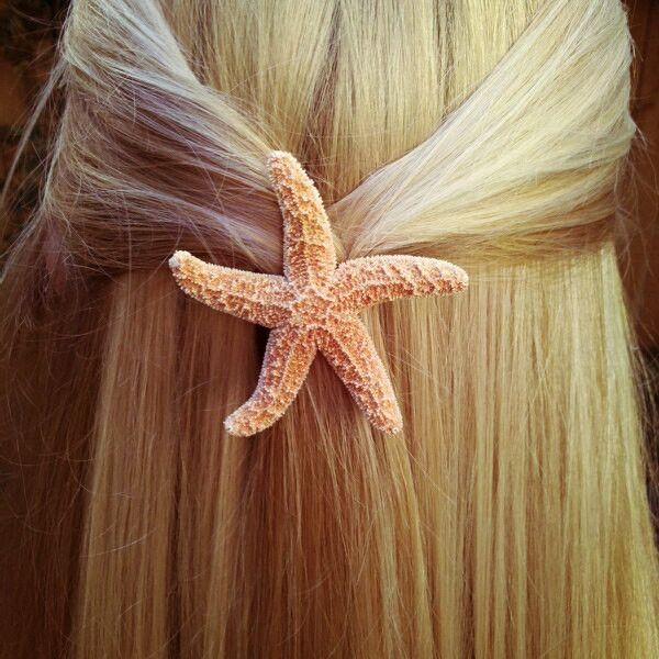 Baja Starfish Hair Barrette, starfish hairclip, beach wedding, mermaid... ($11) ❤ liked on Polyvore featuring beauty products, haircare, hair styling tools, hair, pictures, accessories, hair styles and mermaid