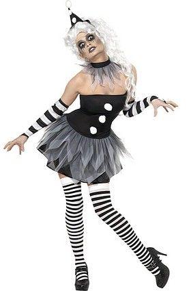 Costume Pierrot noir et blanc diabolique pour femme