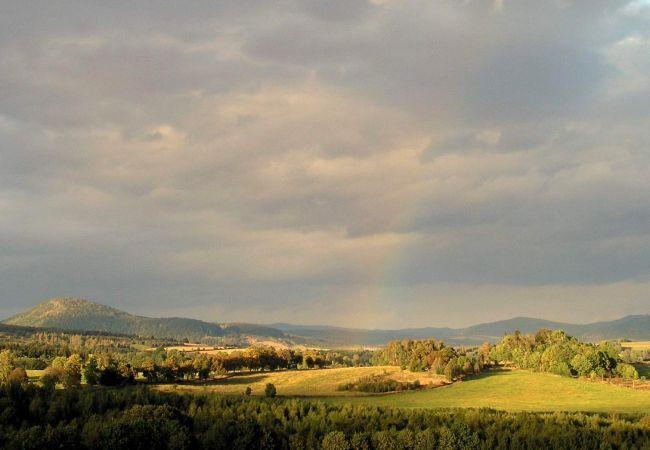 Prachtig uitzicht over Nationaal Park Krkonose vanuit Villa Zacler.