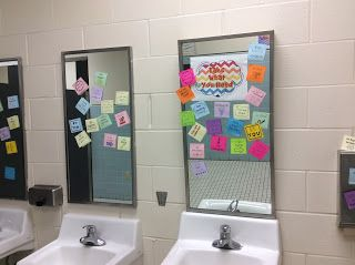 Post positive notes in the bathroom for morale booster