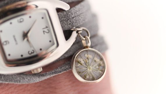 Wrap Watch with real flower charm grey suede and silver