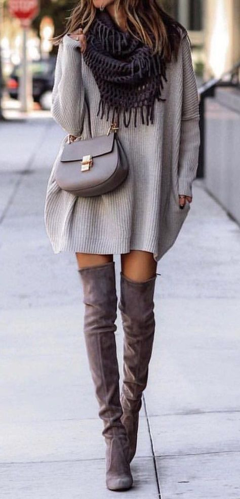 6fcde160b3 Gray sweater dress oversized + black scarf + the over knee high heels boots  . Casual chic classy simple comfy edgy.  winterfashion  fallfashion  ootd   boots ...