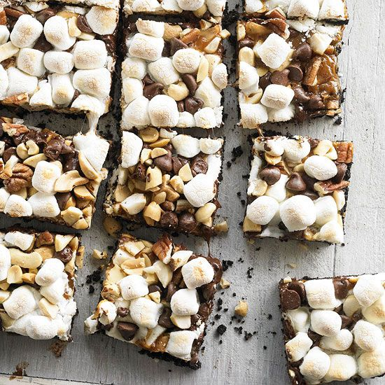 Chocolaty Caramel-Nut S'more Bars: Caramel Nut S More, Recipe, Chocolati Caramel Nut, Caramel Nut Smore, Caramelnut, Nut Bar, Bar Cookies, S More Bar, Smore Bar