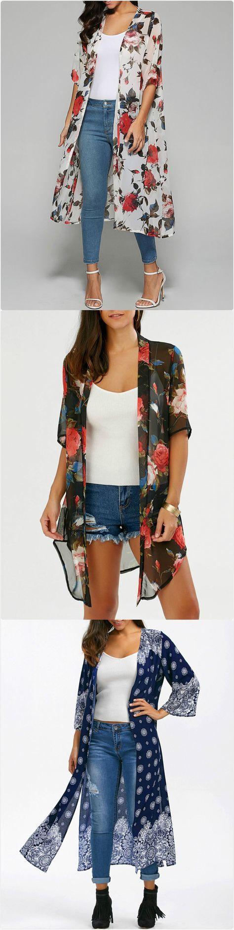 kimono,rose print kimono,chiff