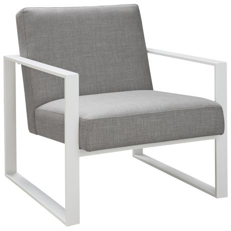 Cube White Frame Chair Arena Cement
