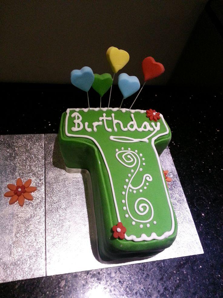 Letter 'T' Green Birthday Cake