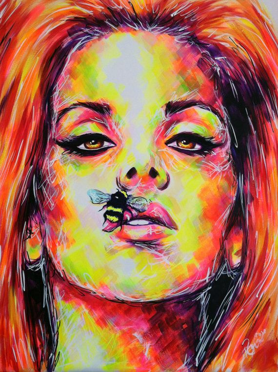 Abstract acrylic painting of Lana Del Rey ... entitled ...