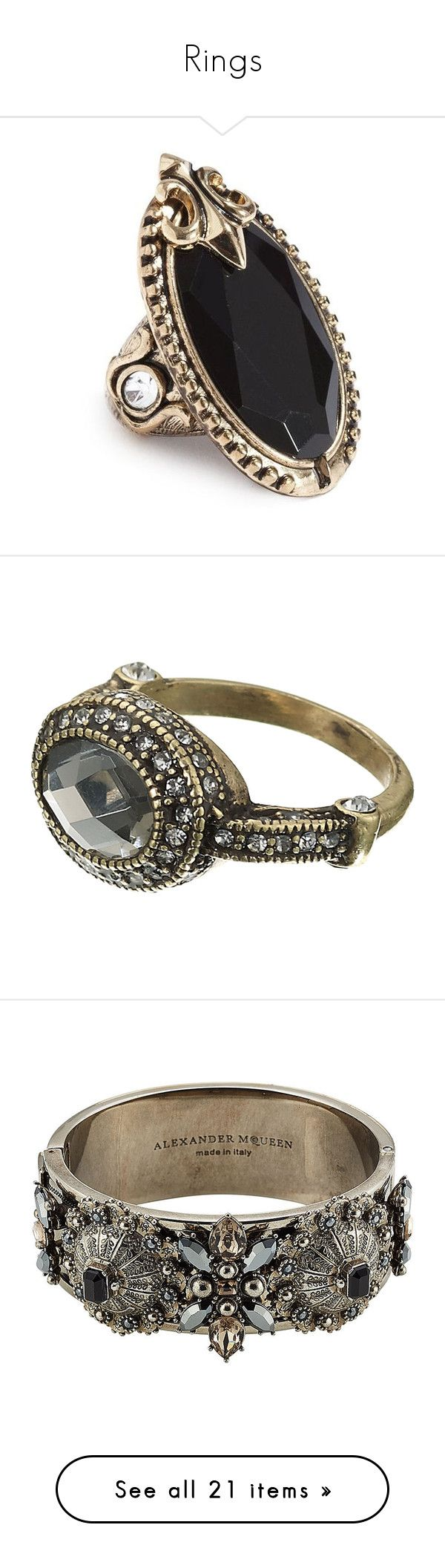 """Rings"" by kitkat12287 ❤ liked on Polyvore featuring jewelry, rings, accessories, aneis, anillos, gold, band jewelry, stretch cocktail rings, vintage style rings and sports rings"