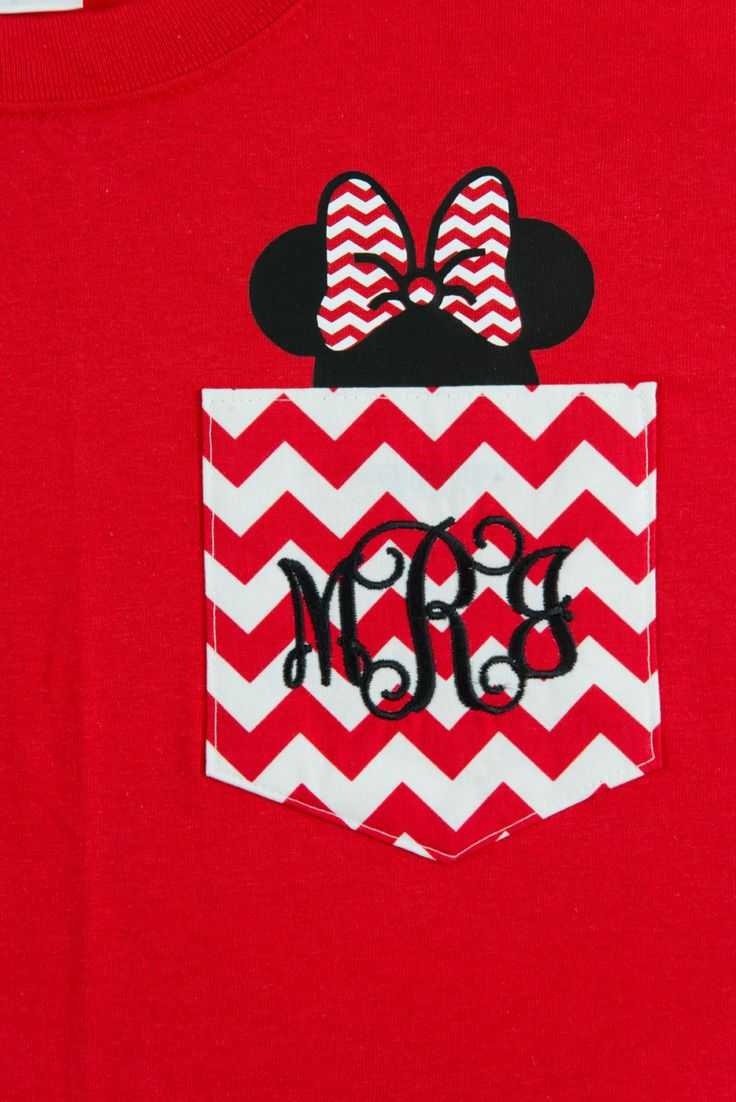 Monogrammed Chevron Pocket T-shirt with Heat Set Minnie Mouse in Pocket by BurlapandLaceSC1 on Etsy