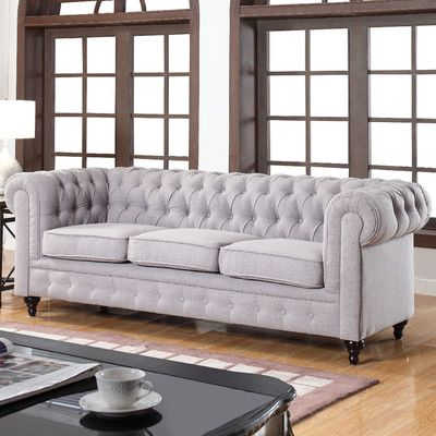 Madison Home USA Classic Tufted Linen Fabric Chesterfield Sofa