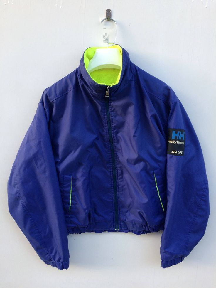 Excited to share the latest addition to my #etsy shop: Vtg rare 90s Helly Hansen sea life/sailing gear/blue polyester jacket/patch logo/casual/hip hop swag/M size jacket #clothing #jacket #90smensjacket #biglogojacket #sailinggearjacket #hellyhensen