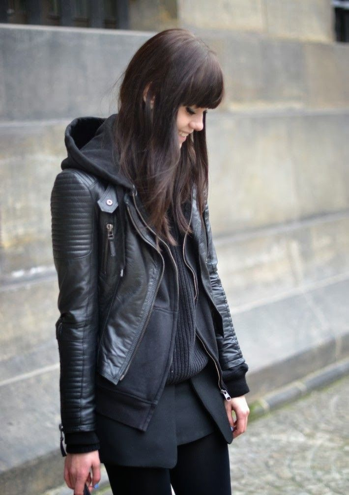 Layers Comfort Style With Leather jacket, Hood, And Stylish Knit.  Really want a black hoodie now.