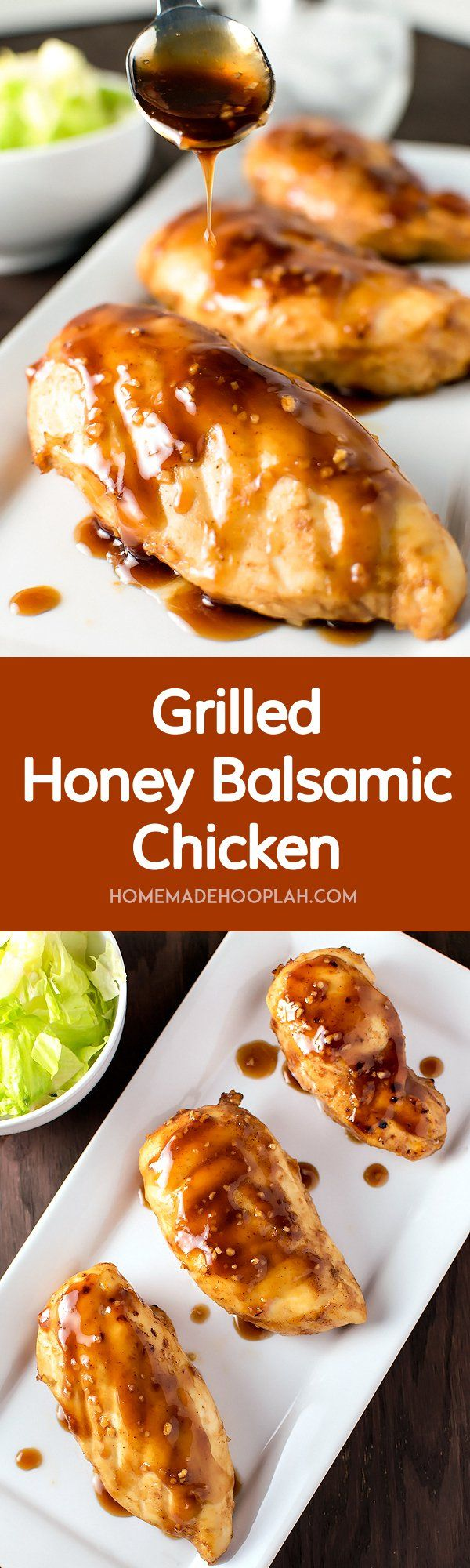 Grilled Honey Balsamic Chicken! A sweet honey balsamic marinade that makes chicken unbelievably tender and juicy. Marinates in half the time for twice the flavor! | HomemadeHooplah.com