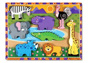 African animal favourites are featured on this extra thick wooden puzzle. 8 easy-grasp, chunky wild animal pieces have a full-colour, matching pictures underneath. The animal pieces stand upright for pretend play. Encourages eye-hand, fine motor and creative expression skills.