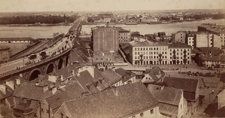 Widok w kierunku Pragi; Most Kierbedzia i Mariensztat. fot. XIX wiek, Konrad Brandel, źr. humus.livejournal.com