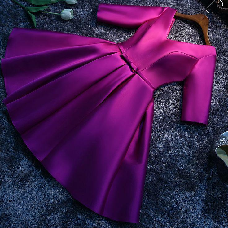 Новое прибытие элегантный платье партии коктейльные платья Платье де Феста атласная Линии половина рукава бесплатная доставка купить в магазине Suzhou True Love Dress на AliExpress