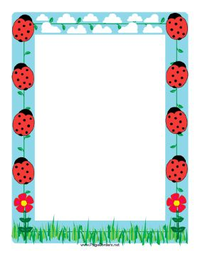 This ladybug border features several of the cute little red and black spotted bugs. Free to download and print.
