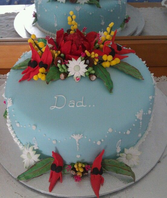 Christmas Cake Decorations Flowers: Australian Wildflowers Made From Fondant (warratah, Wattle
