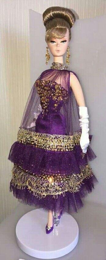 Magia 2000 ooak Silkstone BArbie in Purple net Dress