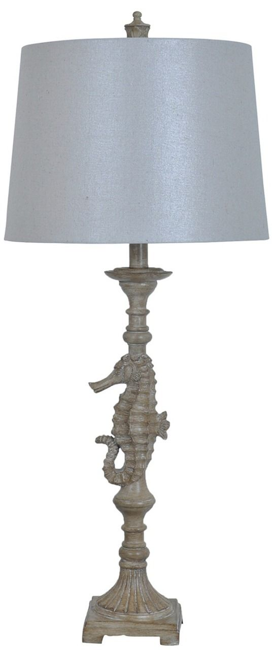 Create a captivating beach cottage style with this 32inch tall sand colored dancing seahorse table lamp. A linen shade completes the look. Perfect whimsical style for your beach house! Shade Dimensio
