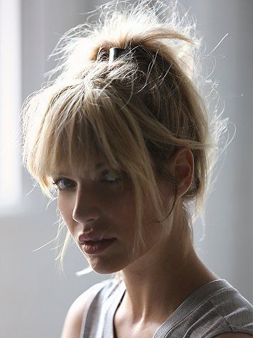 High ponytail with fringe (bangs) | Free People Metal Ponytail Holder