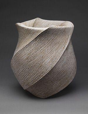 """Listening to Waves"" by Sakiyama Takayuki, 2004, Sand-glazed stoneware H. 15 3/4"", W. 13 1/2"", D. 15"" (Japanese, born 1958) #finecraft"