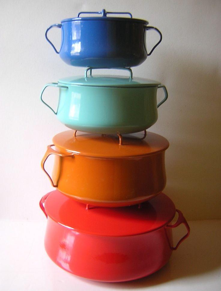 Vintage Dansk Kobenstyle Enamel Cookware -  IHQ Enameled Jens Quistgaard Huge Rare 8 Quart Dutch Oven - Valentine Red - Near Mint.