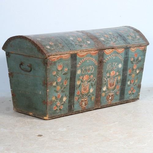 Original Antique Swedish Painted Trunk, dated 1836