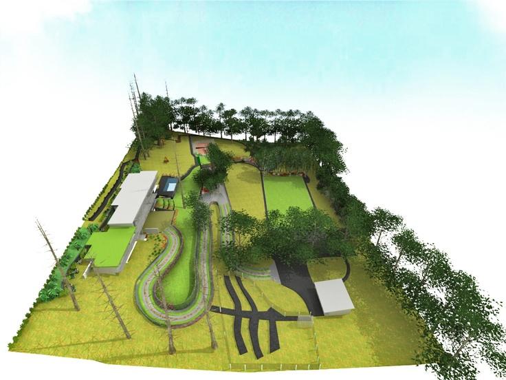 Render de paisajismo para proyecto de en Pucón de Barbara Corrales, Arquitecta.