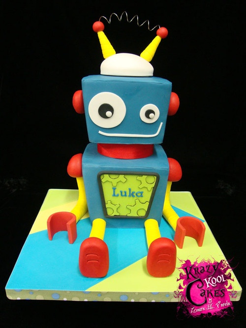 robot cake | TumblrRobot Cake - by Elisabeth @ boys cake party birthday robot cake yellow orange blue kid kids CakesDecor.com - cake decorating websit