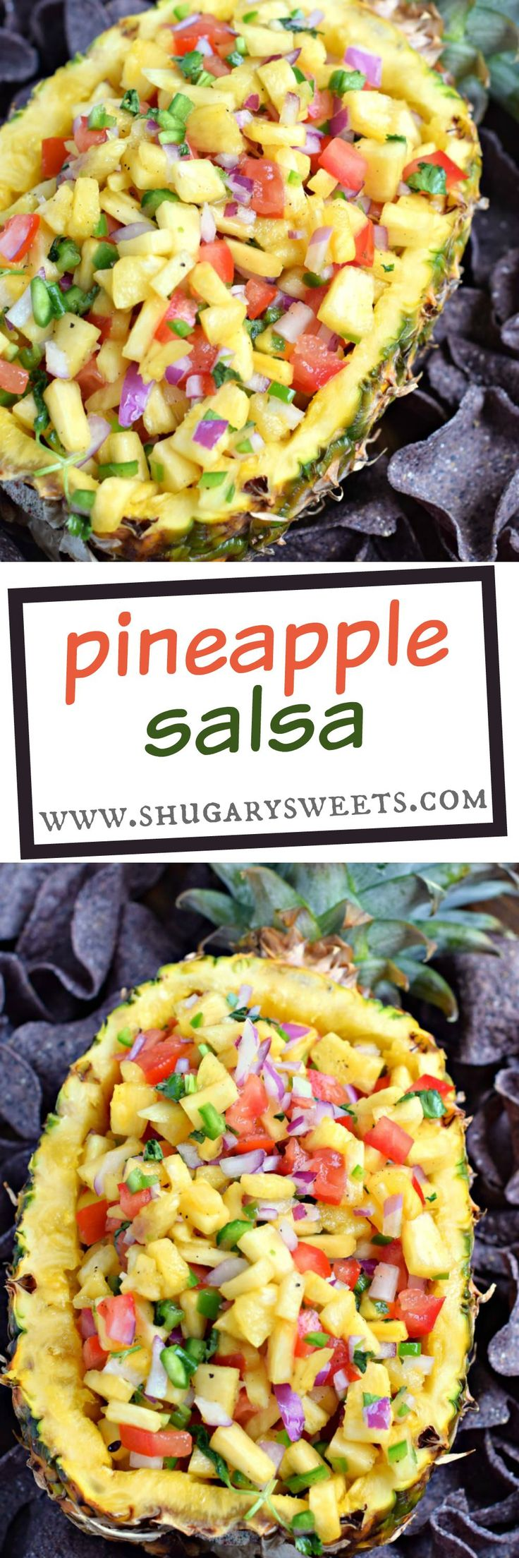 Tropical Pineapple Salsa is a spicy, sweet, colorful snack idea! So versatile, you can enjoy with tortilla chips or spoon it over your favorite grilled chicken or fish!: