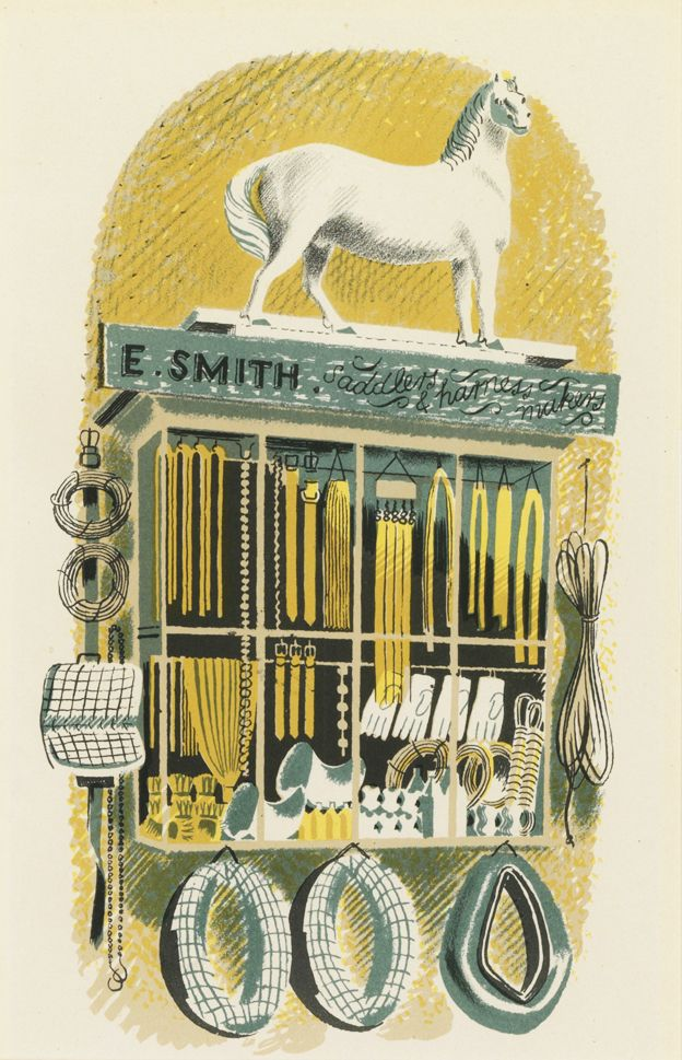 ART & ARTISTS: Eric Ravilious – part 1 / A Sadler and Harness Maker from 'High Street' 1938