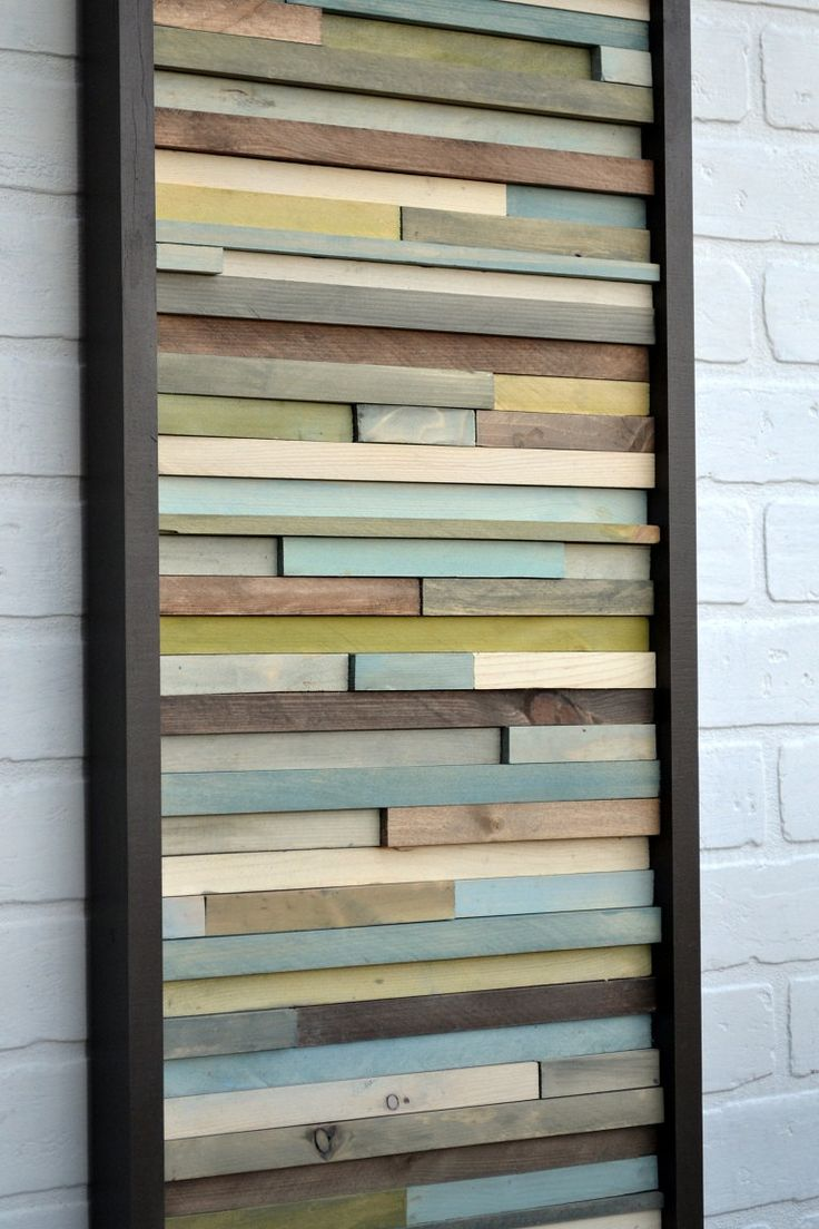 Wood Wall Art -  12 x 36 - greens, blues, grays, browns and white