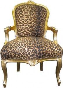 Barock Salon Stuhl Leopard / Gold – Bild