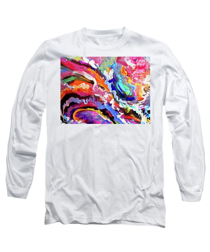 Colorful Long Sleeve T-Shirt featuring the painting Untitled Hybrid by Expressionistart studio Priscilla-Batzell