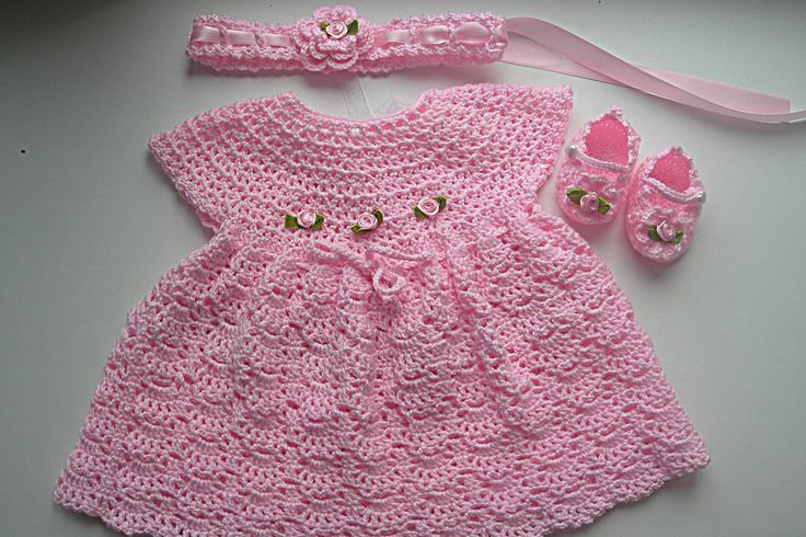 Click to view pattern for - Crochet a pink dress and booties for a baby