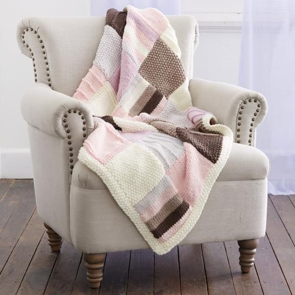 Quick to knit and super easy, this beautiful throw is now available in calming neapolitan pastels.  Relax and get happy knitting!