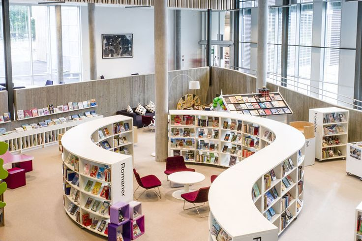 BCI - Modern Library Installations Gallery.  If removable seating could have a gap at the back to NF